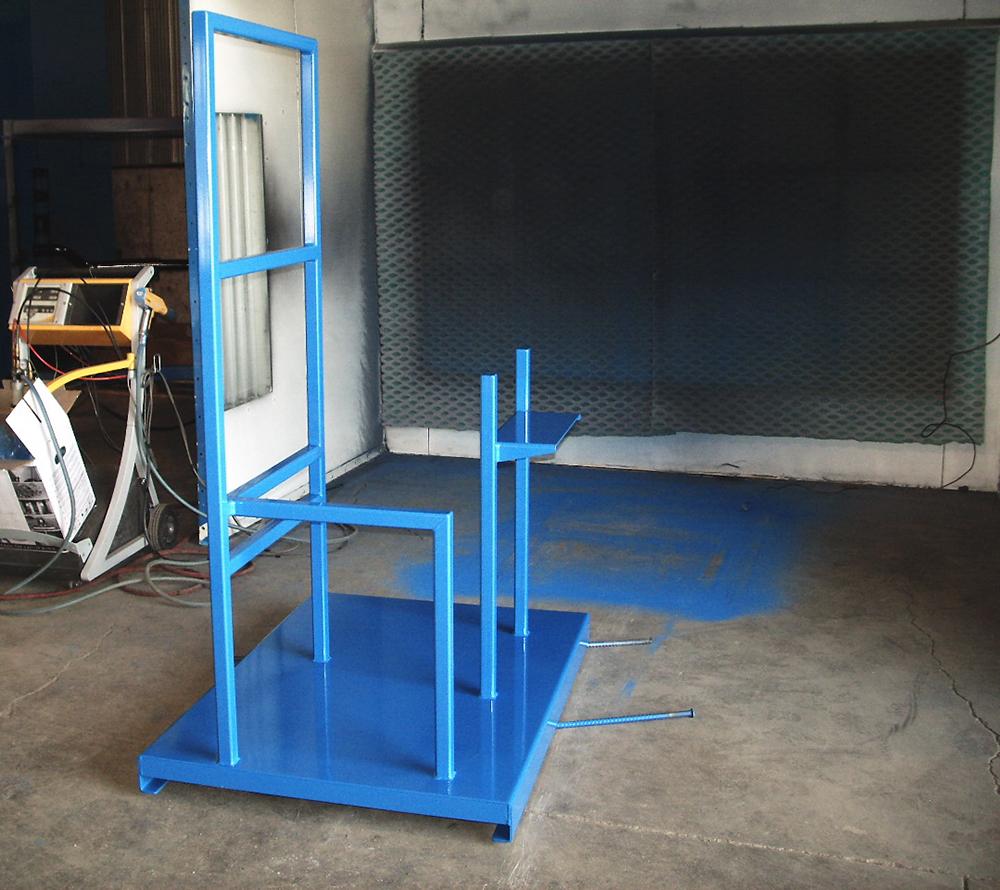 blue powder coated frame